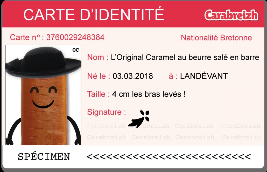 carte identité caramel barre