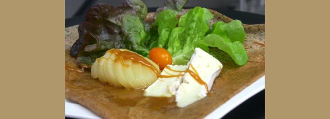 Crêpe/Galette Blé noir Poire Camembert et Crème de caramel